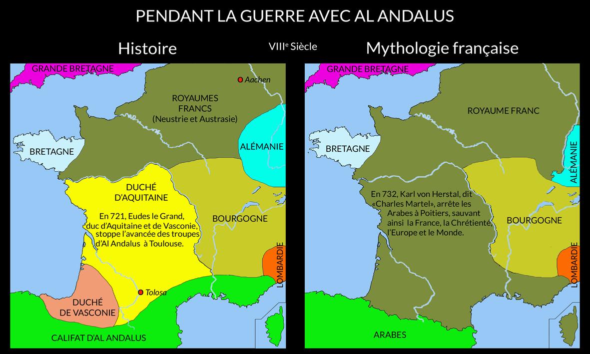 En 721, Eudes d'Aquitaine arrête les troupes de Al Andalus à Toulouse.