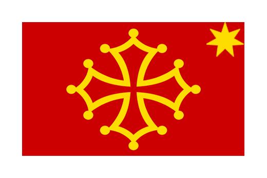 Drapeau Occitanie Croix ocitane Occitània flag